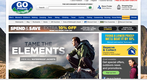 GoOutdoors Ecommerce Website