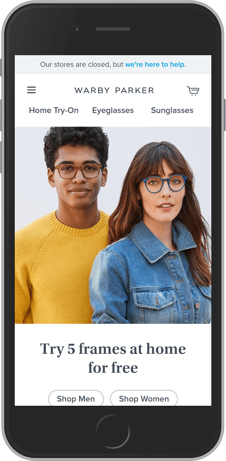 Warby Parker on mobile
